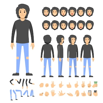 Emo boy character set