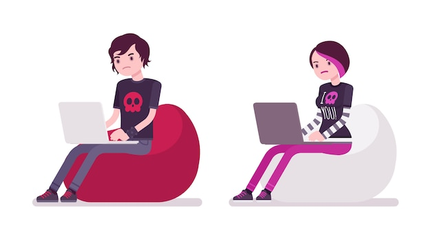 Emo boy and girl sitting and working