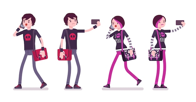 Emo boy and girl walking, standing with gadgets
