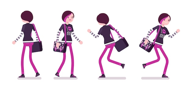 Emo girl in walking and running pose