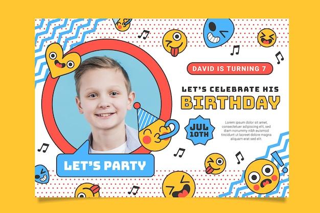 Шаблон приглашения на день рождения эмодзи с фото