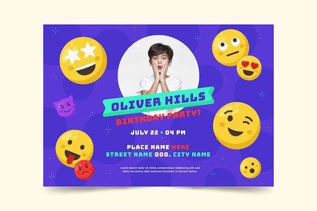 Emoji birthday invitation template with photo