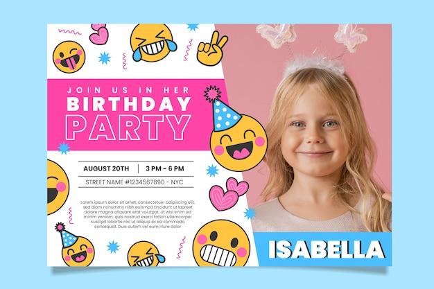 Modello di invito di compleanno emoji con foto