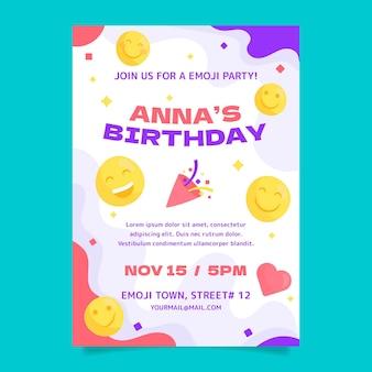 Modello di invito di compleanno emoji
