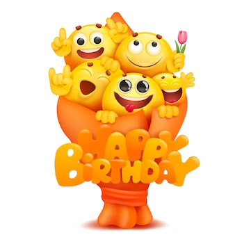 Emoji bouquet with cartoon yellow smile face characters.