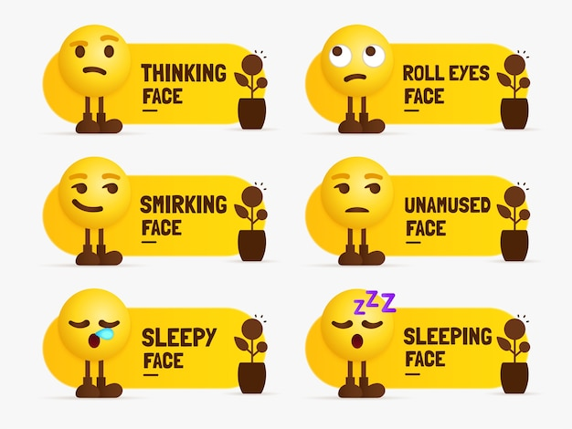 Emoji characters standing with text label, set of mixed feeling