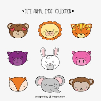Collezione emoji di animali disegnati a mano
