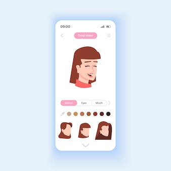 Emoji creator smartphone interface vector template. mobile app page design layout. modern features for social media usage. beautiful home screen. flat ui for application. phone display