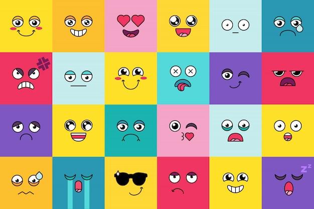 Смайлик, милый стикер emoji набор. cute moticon, социальные медиа мультфильма маска для лица. настроение выражения