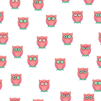 Emoji cute owl seamless pattern.