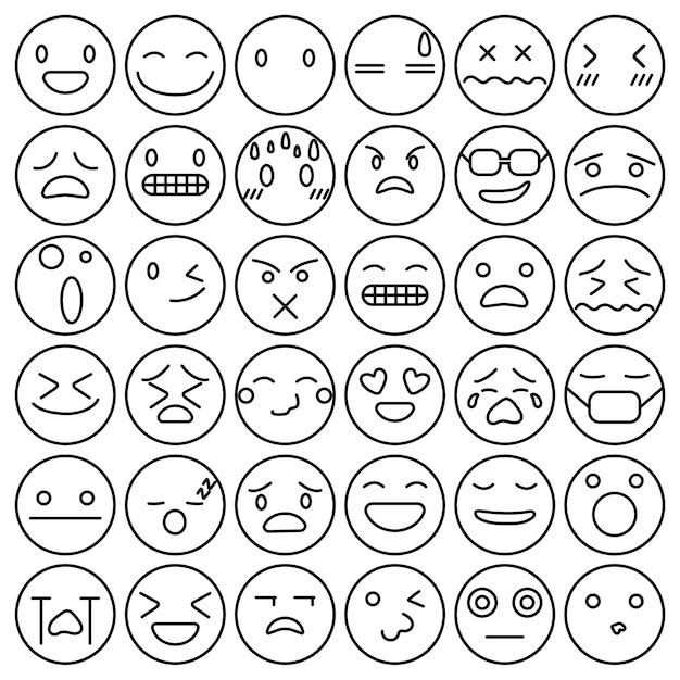 Free Emoji emoticons set face expression feelings collection