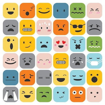 Emoji emoticons set face expression feelings collection