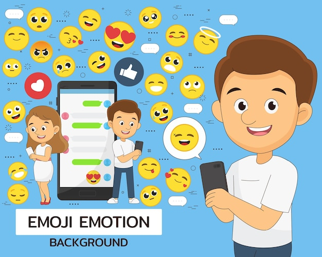 Emoji emotion illustration with man and woman holding mobile and emoticon set