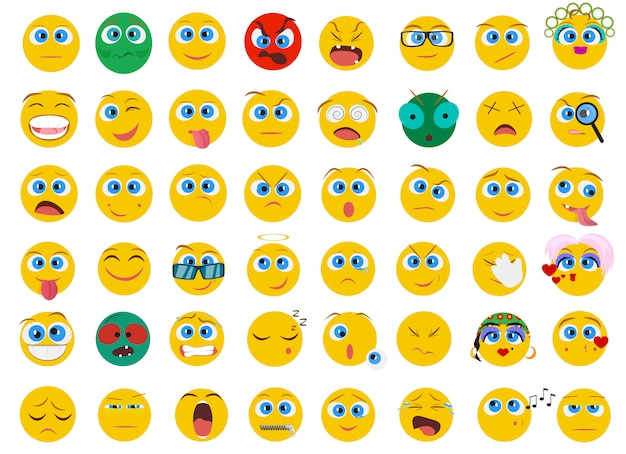 Emoji face emotion icons set
