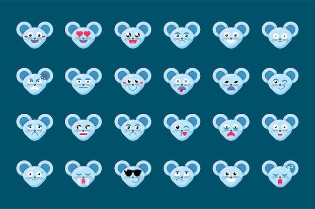 絵文字楽しいかわいい動物のマウスの笑顔の感情セット。
