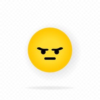 Значок emoji. смайлик сердитое лицо. чат-эмоции. концепция социальных сетей. эмоции.