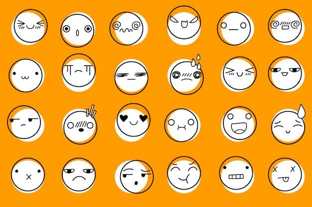 이모티콘 아이콘 노란색 배경입니다. 귀여운 이모티콘 얼굴, 벡터 일러스트 레이 션입니다. 다른 기분 긍정적이고 부정적인 인간의 감정 그림.