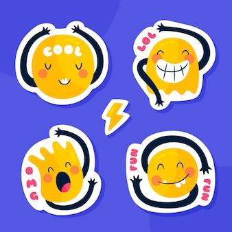 Collezione di adesivi con illustrazione emoji