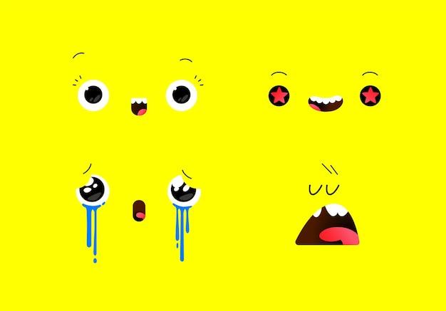 다양한 감정 상태의 이모티콘 삽화 카와이 스타일의 감정적 얼굴