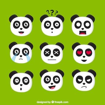 Emoji pack of expressive panda