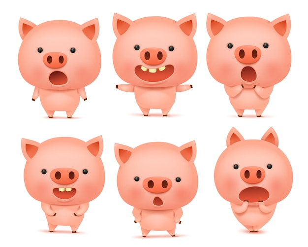 Emoji pig character icon set with different emotions