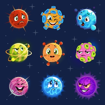 Emoji planets. cute colorful planets stickers, kids astronomy futuristic comics objects with funny smile face, fantasy space vector cartoon emotional character