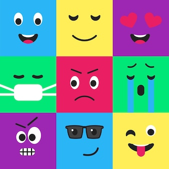 Emoji seamless pattern flat style design set funny facial emoticon template from internet