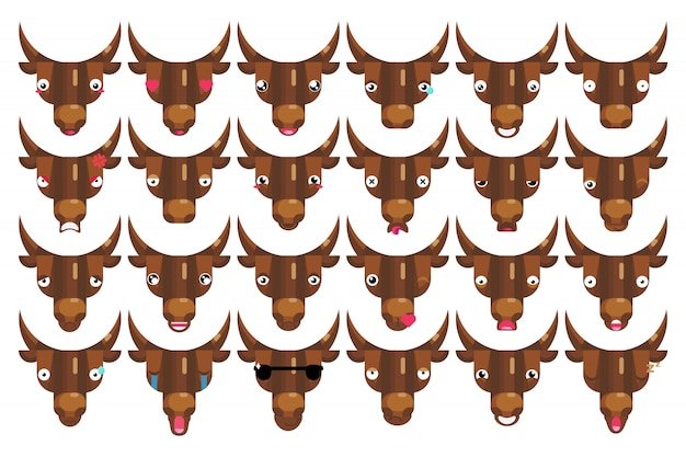 Emoji set, bull faces, happy smiling cows head signs isolated emotion