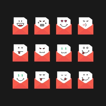 Emoji set messages in red letters. concept of sad, satisfy, new sms, chat, hate, foodie, bored, yum-yum, postage, anger, dead. flat style trend modern logotype graphic design on black background
