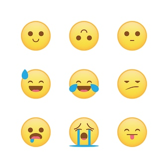Emoji set vector isolated collection