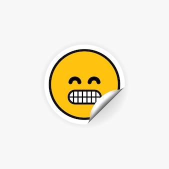Наклейка emoji с зубами. настроение. нервозность.