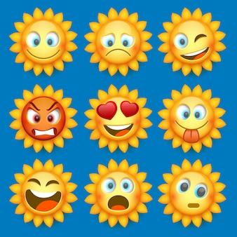 이모티콘 태양과 슬픈 아이콘을 설정합니다.