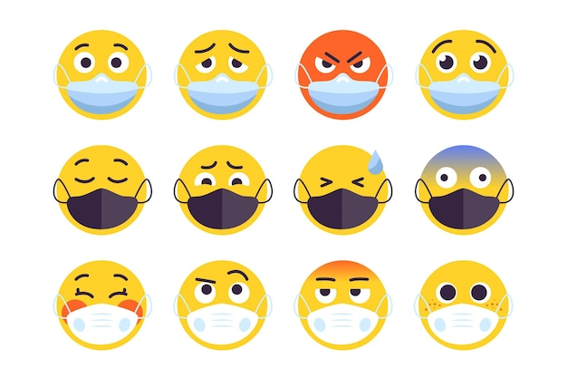 Emoji with face mask pack