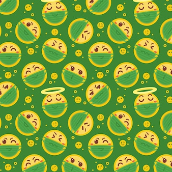 Emoji with face mask pattern
