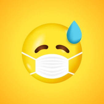 医療用マスク付きの絵文字。ウイルス。医療用マスクの絵文字。 。