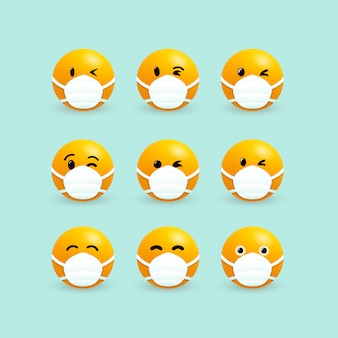 Emoji with mouth mask. set of yellow faces with closed eyes wearing a white surgical mask. corona virus infection. 2019-ncov virus. coronavirus microbe. isolated graphic illustration.