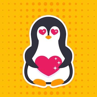 Emoji with pinguin in love