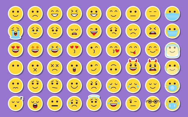 Emoji yellow sticker face icons set smile tags with shadow in cartoon style collection labels emoticon mood emotion sign for digital chat apps or web patch or pin for packing vector illustration