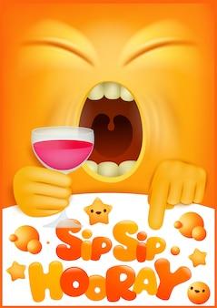 Концепция поздравительных открыток с желтым emoji мультипликационный персонаж. глоток глоток ура