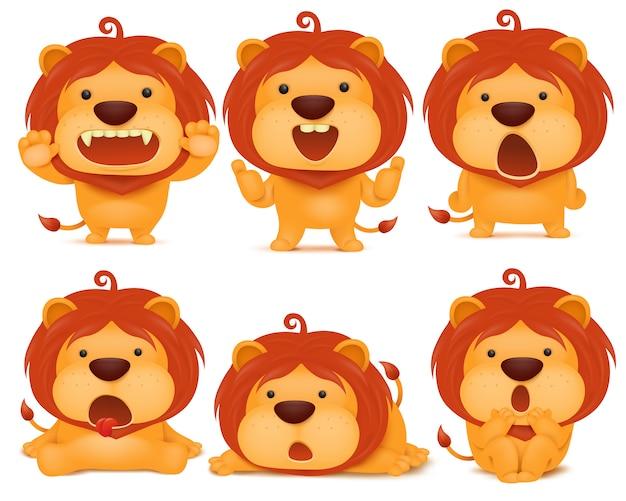 Набор emoji лев кошка мультипликационный персонаж.