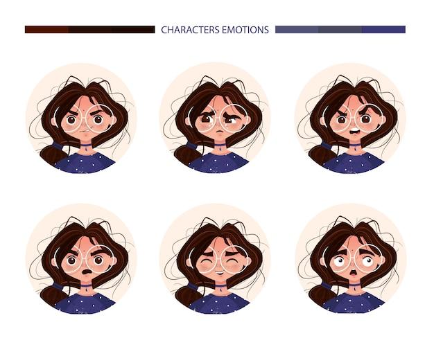 Характер эмоций аватар милая девушка брюнетка в очках. emoji с разными выражениями лица женщины радость, плач, гнев, удивление, смех, испуг. векторная иллюстрация в мультяшном стиле