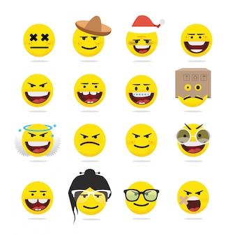 Творческие смешные плоские смайлики emoji
