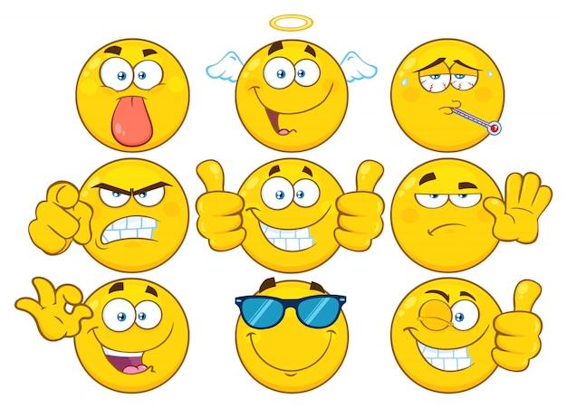 Смешные желтые мультфильм emoji лицевой набор символов