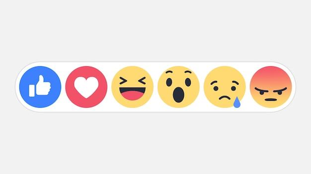 Emojiのソーシャルネットワークの反応のアイコン