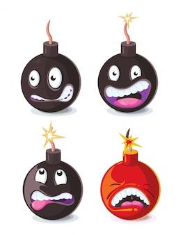 Смешные мультфильм злых бомб emoji векторных иллюстраций
