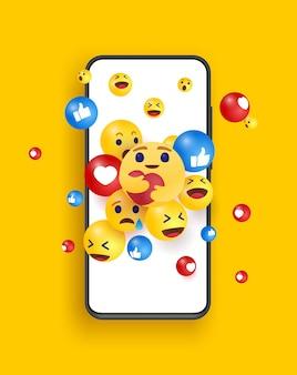스마트 폰의 이모티콘 점프. 기술, 커뮤니케이션, 소셜 미디어 디자인 개념.