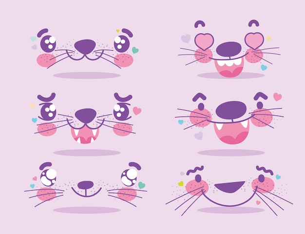 Emojis kawaii cartoon animal expression faces set