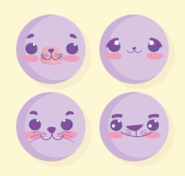 Emojis kawaii мультфильм животных лица набор