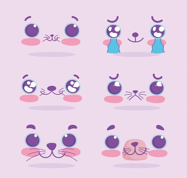 Emojis kawaii cartoon cat expression faces set