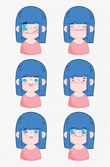 Emojis kawaii cartoon cute girl making different faces  illustration